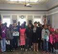 Students with Mayor Infeld