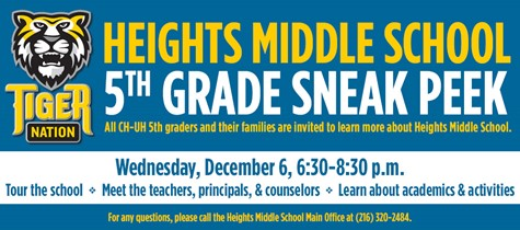 Heights Middle School 5th Grade Sneak Peek