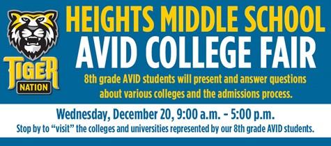 Heights Middle School AVID College Fair