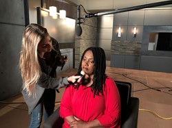 Cynthia Booker with makeup professional before filming of the docudrama