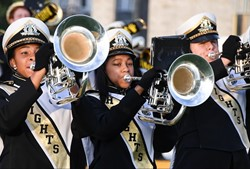 Heights High marching band members