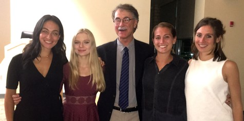 L-R: Eve Tranchito ('07), Lauren Iott (HHS Senior), Coach Terry Saylor, Kelly Jones ('11), Zoe Jones ('07).