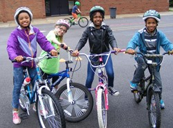 Students on bikes