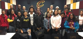 Heights High students visit the Cavs practice facility