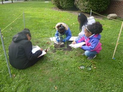 Children studying biocube outside