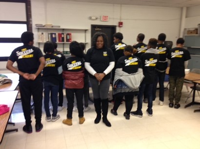 Students showing t-shirts