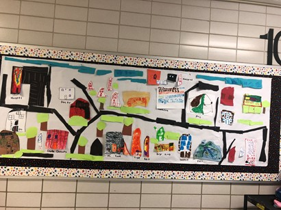 Poster with drawings of community landmarks