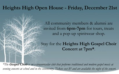 Heights Open House flyer