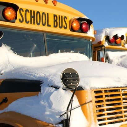 Bus with snow