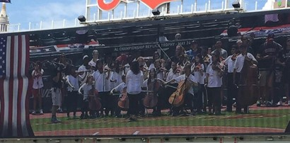 HMS band on Jumbotron playing at Progressive Field