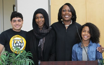 Dr. Talisa Dixon with three students in 2017