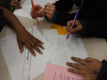Students working on math project
