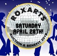 Rox Arts benefit logo with disco ball