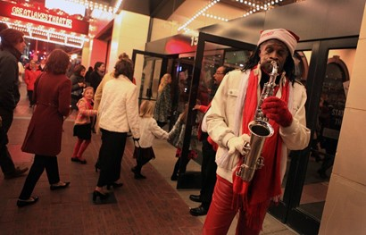 Cleveland Sax Man playing outside Playhouse Square