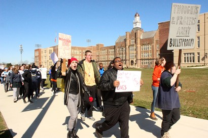 Heights High students march for National Student Walkout Day