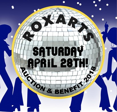 Rox Arts benefit logo with disco ball