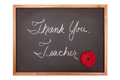 "The words ""Thank you, Teacher"" on a chalkboard"