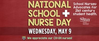 Red school nurse day graphic