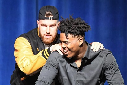 Travis Kelce and Tyreke Smith at the CHHS Distinguished Alumni Hall of Fame ceremony