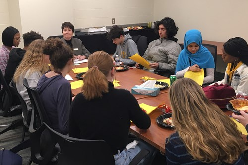 Heights High students meet in a focus group about the superintendent search.
