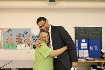 Dr. Williams hugging Melanice Walker