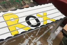 flower box with rox painted on