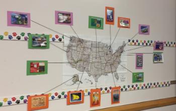 Map of postcard destinations