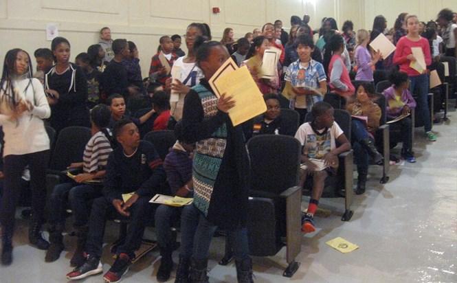 6th grade Citizenship awardees standing up