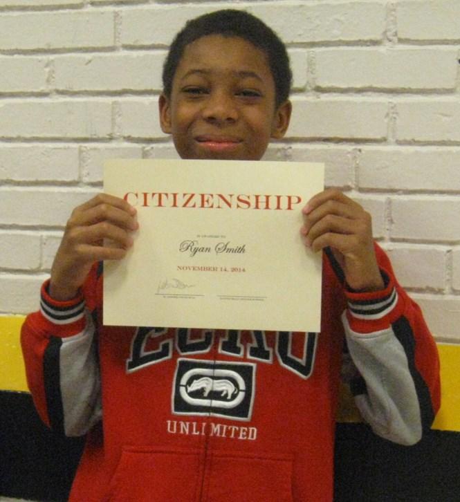Proud recipient of a Citizenship award