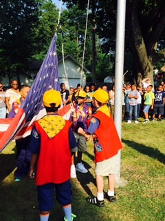 Pack 3 Cub Scouts Raise the Flag on the 1st Day of School