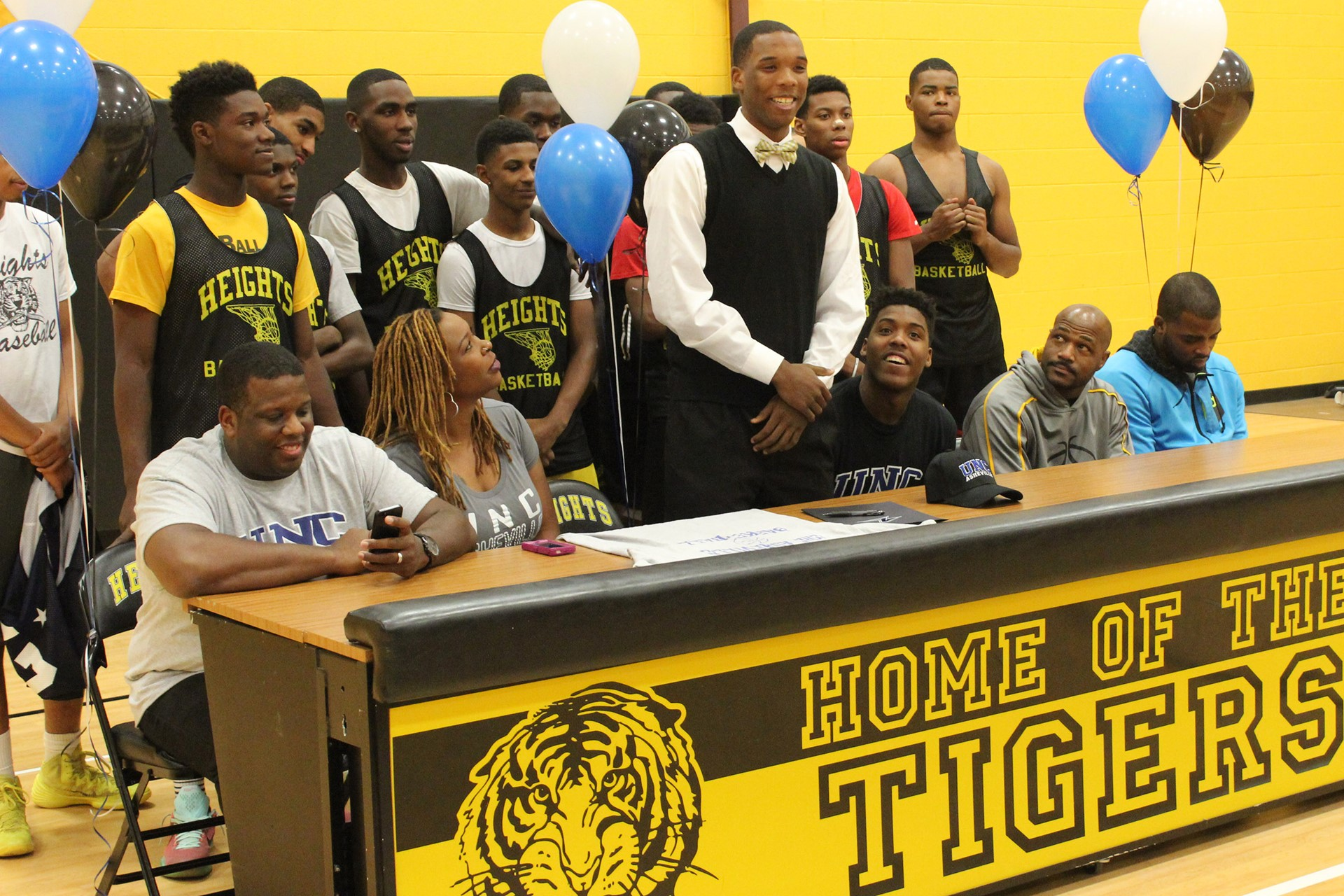 Malik Smith addressed the crowd during Tuesday's signing ceremony.