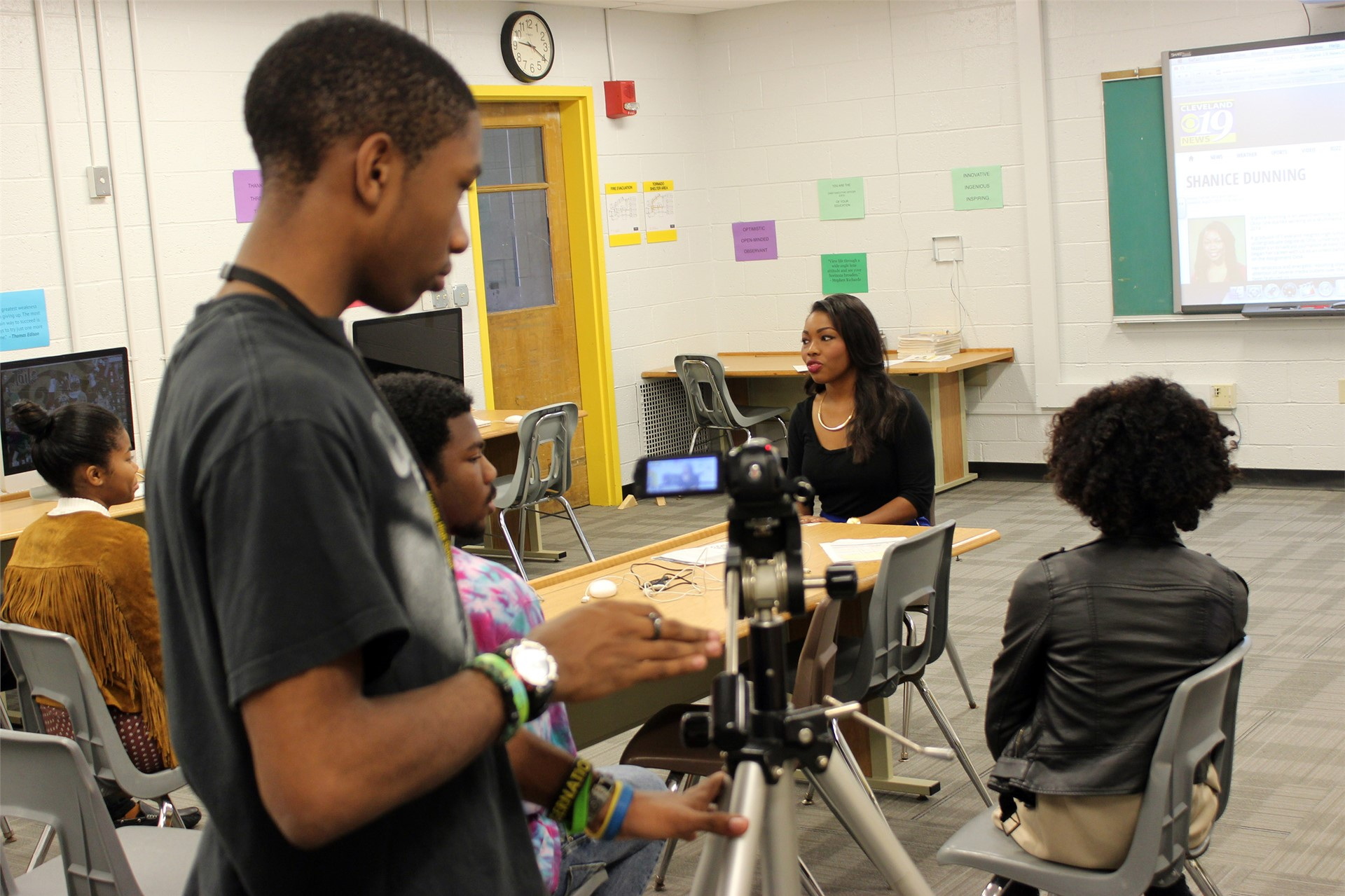 Shanice Dunning ('06), Multimedia Journalist/Reporter at Cleveland's WOIO, 19 Action News, spoke to the Digital Video Production class.