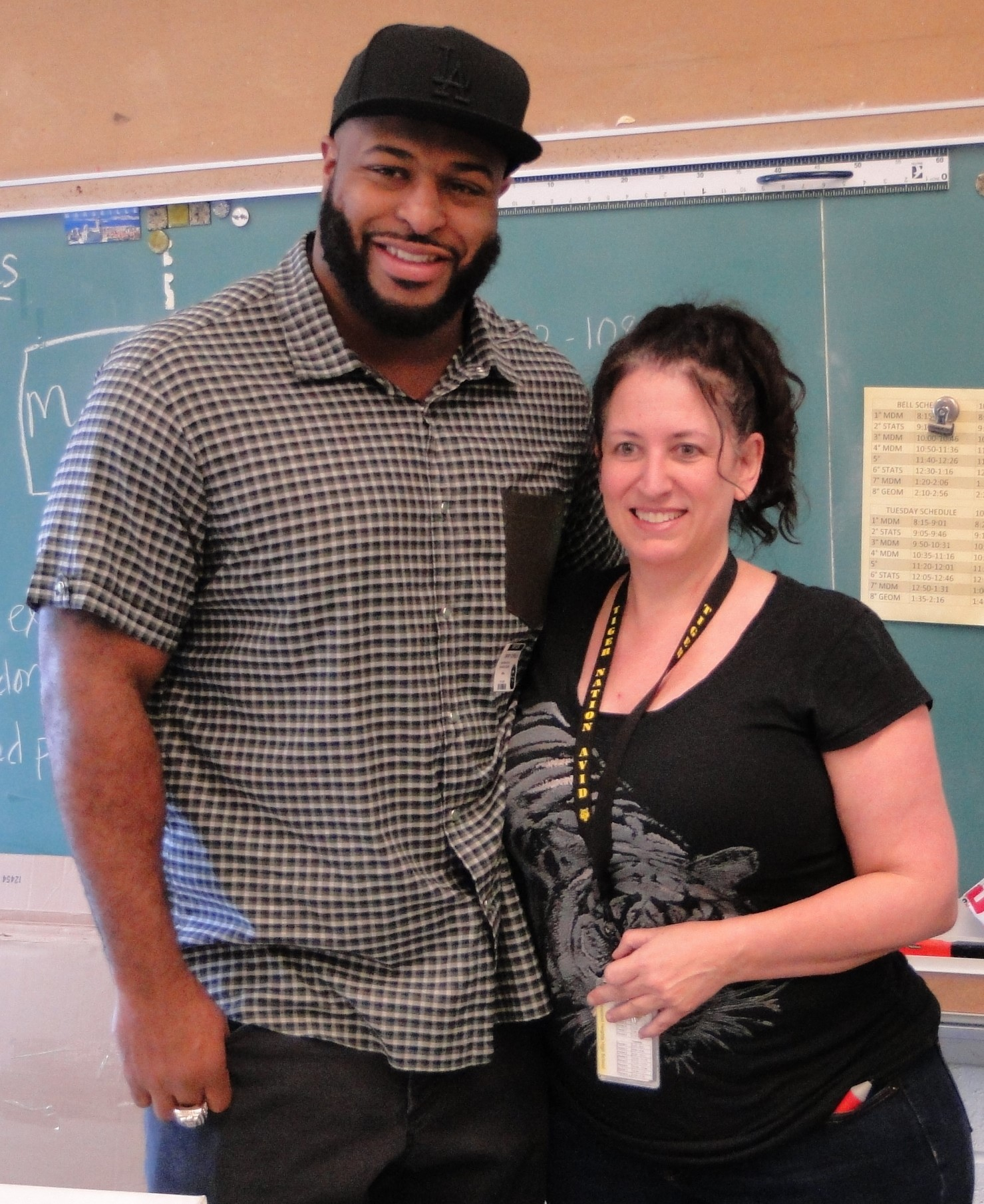 Barry with his former math teacher, Joyce Bukovac.