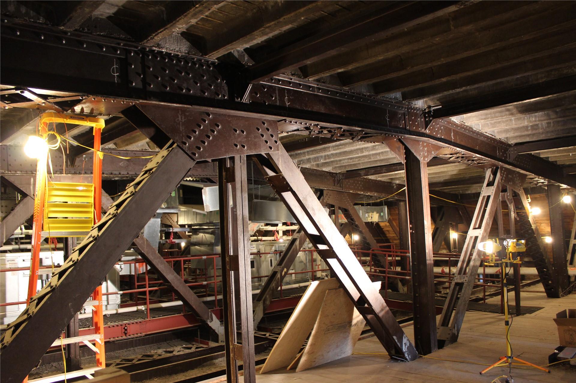 Steel beams on fourth floor