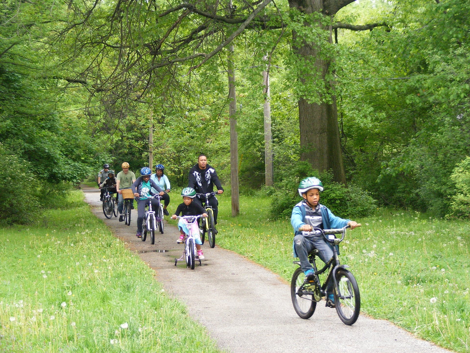 The end of the one mile ride - on the 'cinder path' beside the school