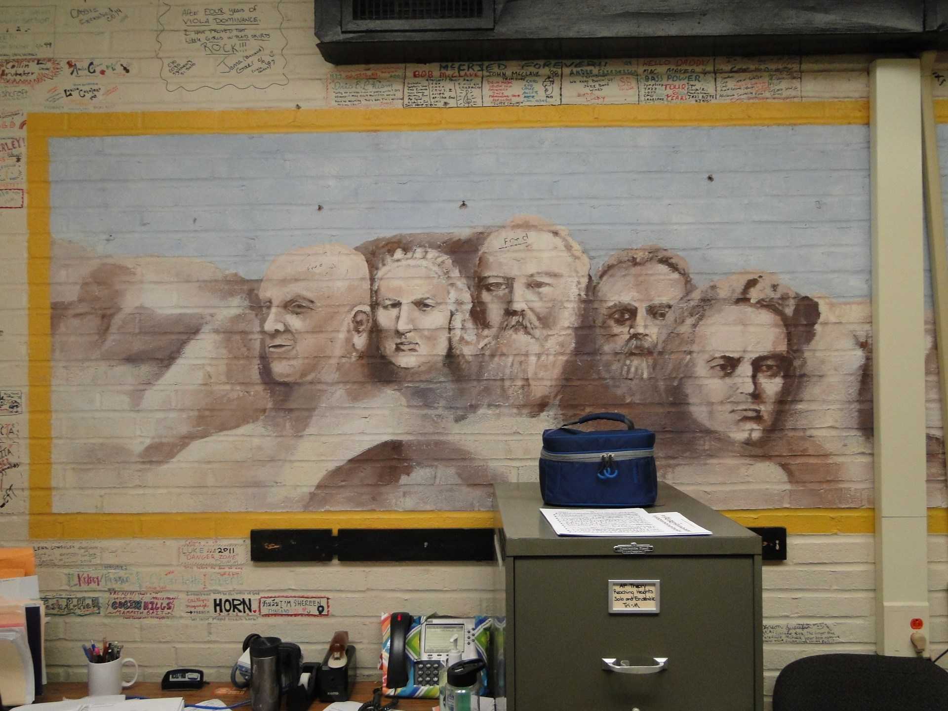 Student mural of the great composers.
