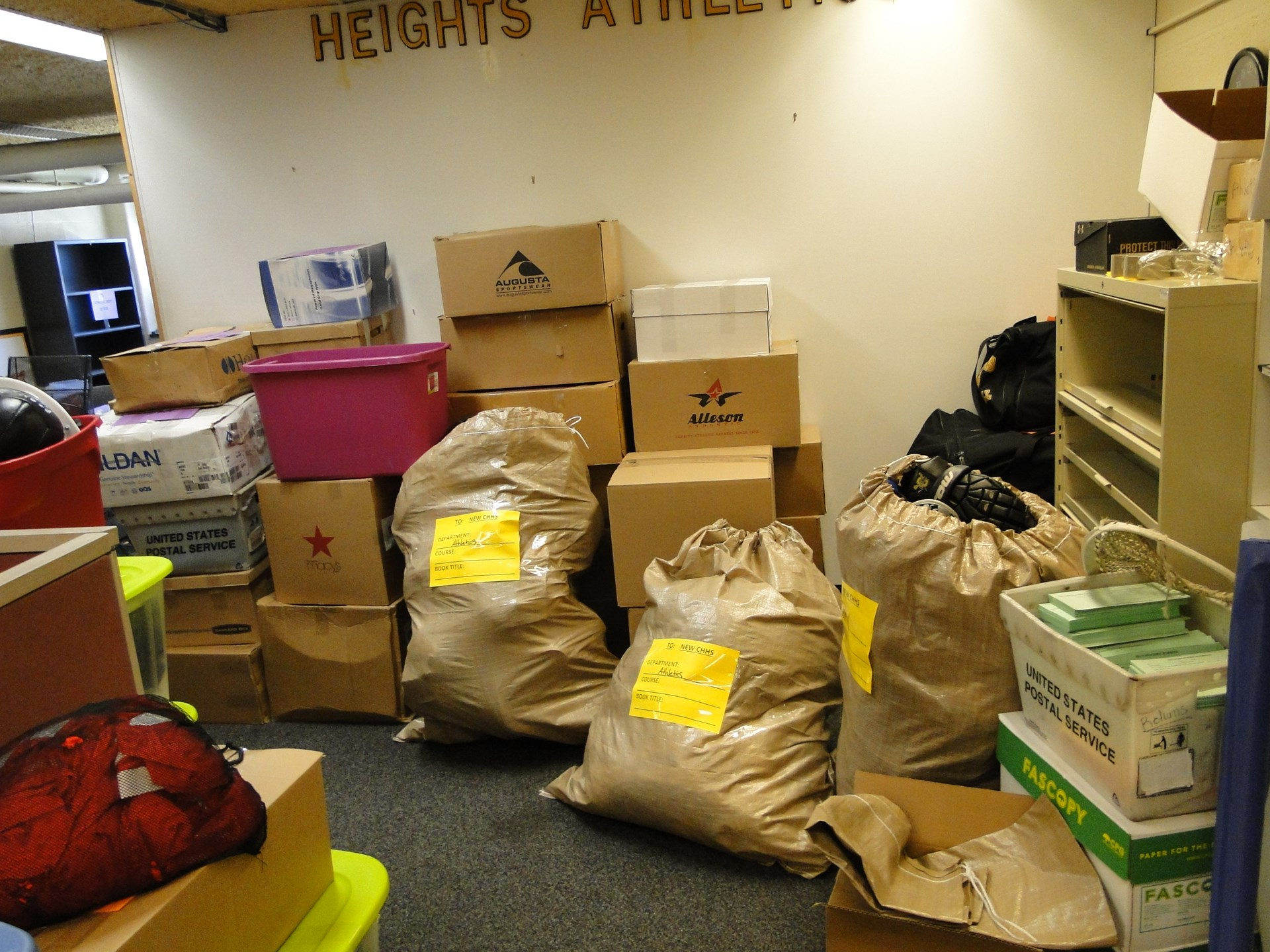Athletic Dept, equipment packed and ready to go.