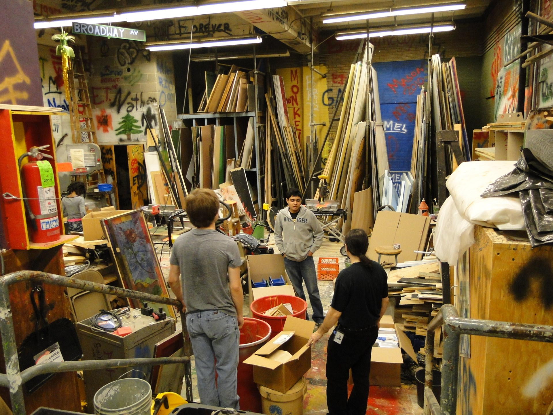 In the back stage storage room - props, sets etc.