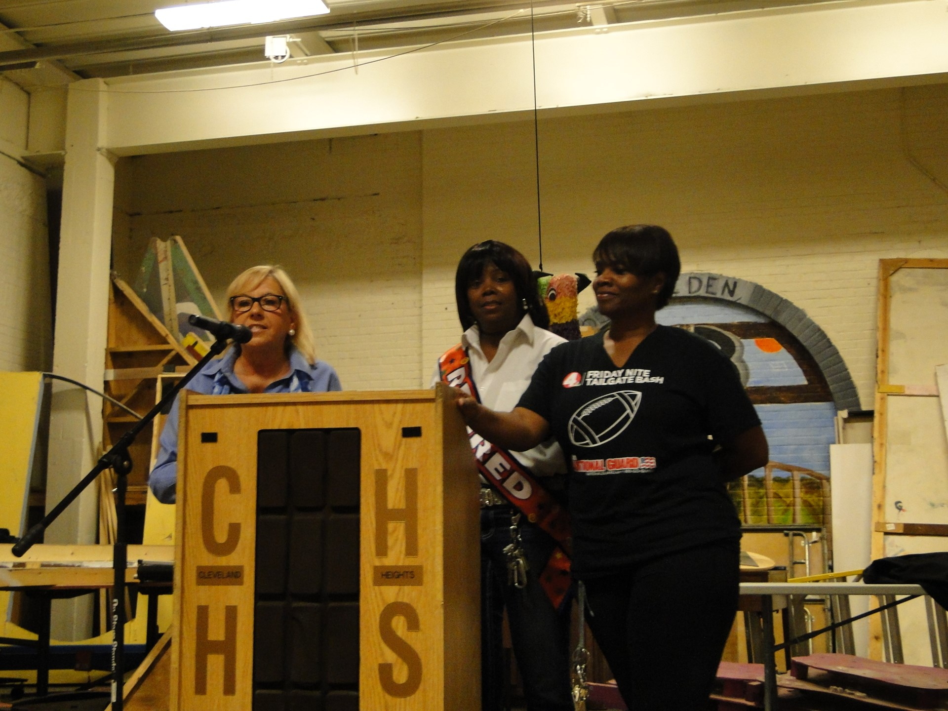 Retiring cleaners (and sisters) Coco & Annette Cooper recognized by Linda Spisak.