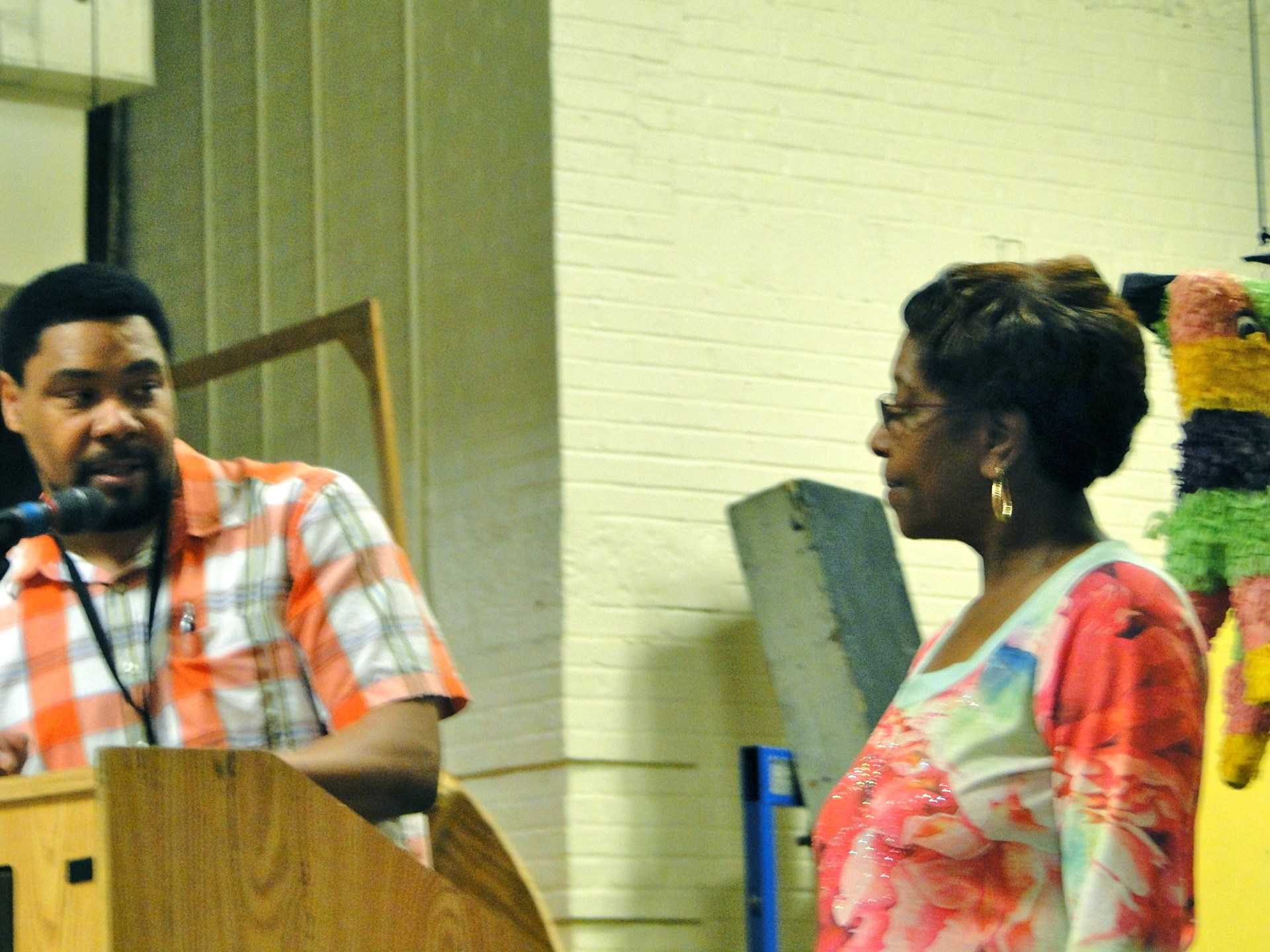 Administrative Principal Zoraba Ross recognized a retiring kitchen employee.
