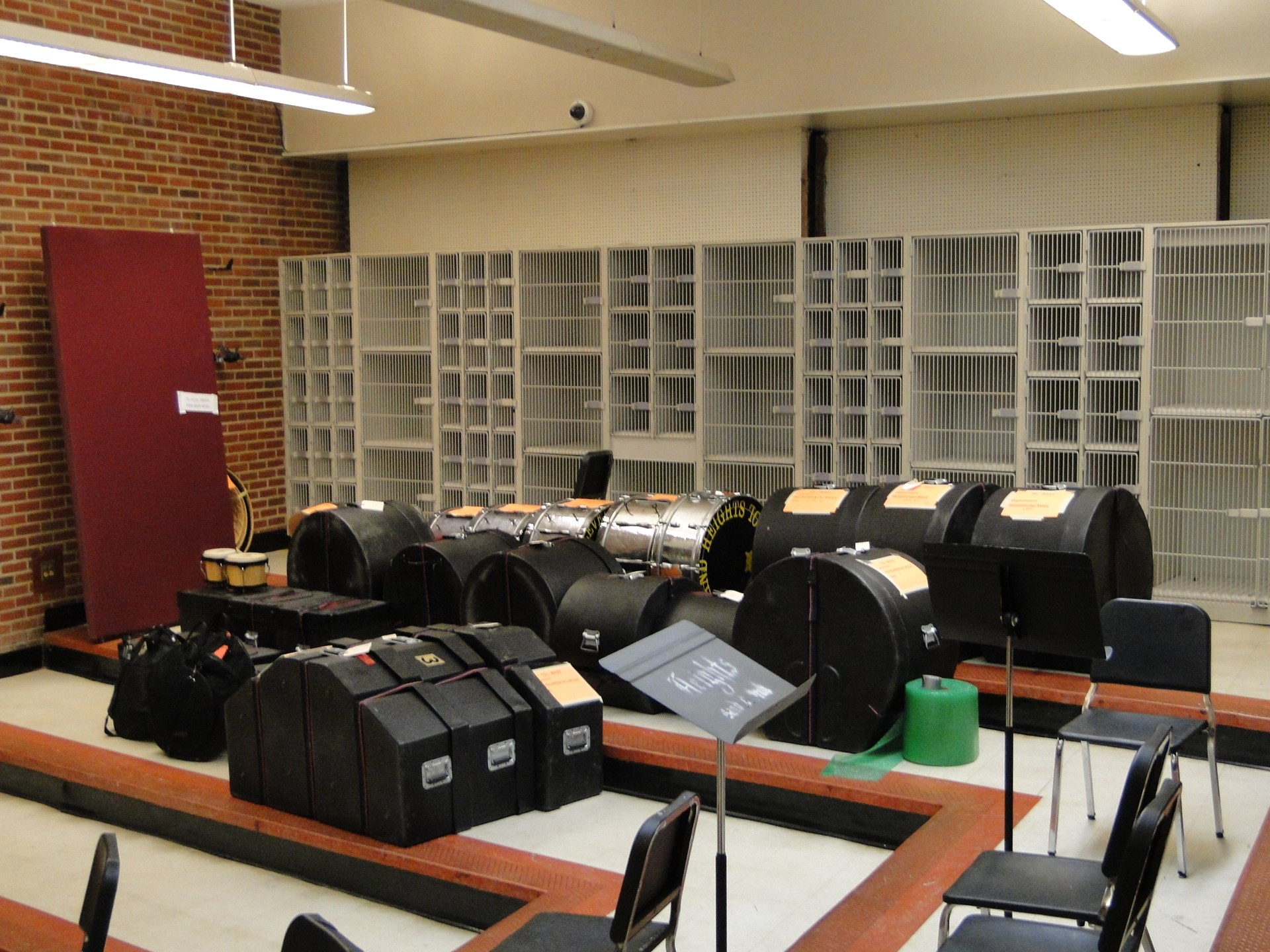 Instruments ready for transport in the Instrumental Music Dept.