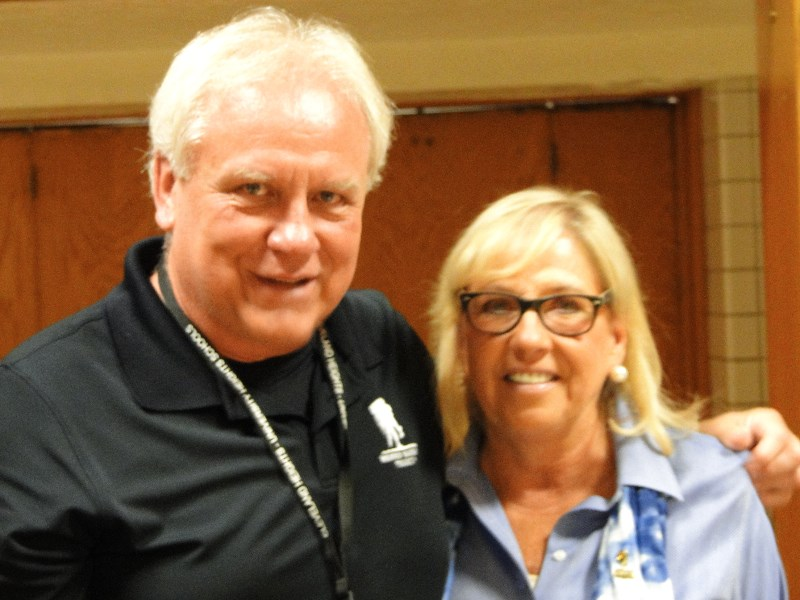 Retiring teacher Linda Spisak (L) and her husband, teacher Gary Wroblewski.