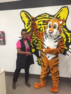 Principal Coleman with New Tiger Mascot