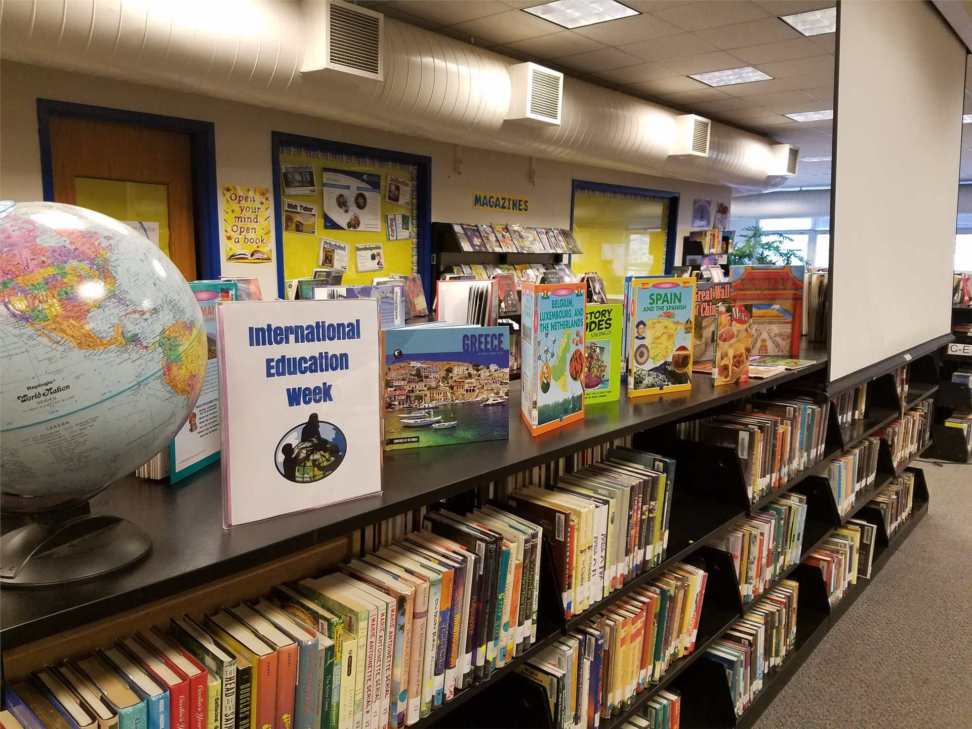 International Education Week at RMS library- Thanks, Mrs. Denk