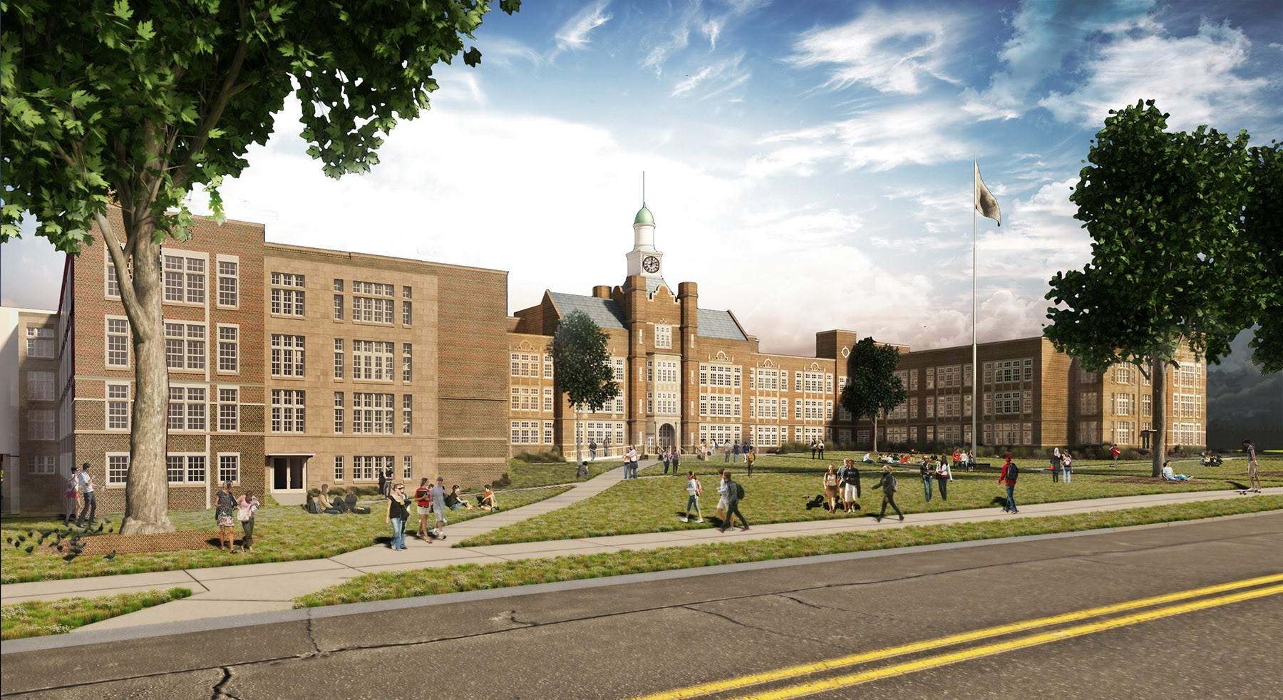 Rendering of the new Heights High when renovations are completed in fall 2017.