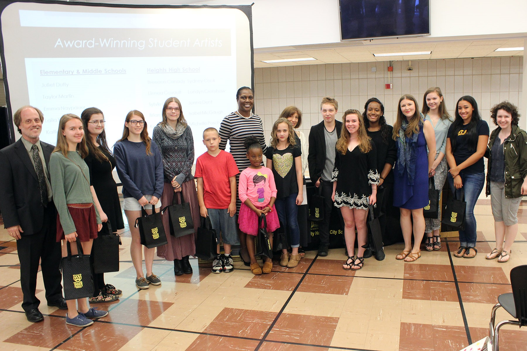 Award-winning student artists were recognized at the Board meeting.