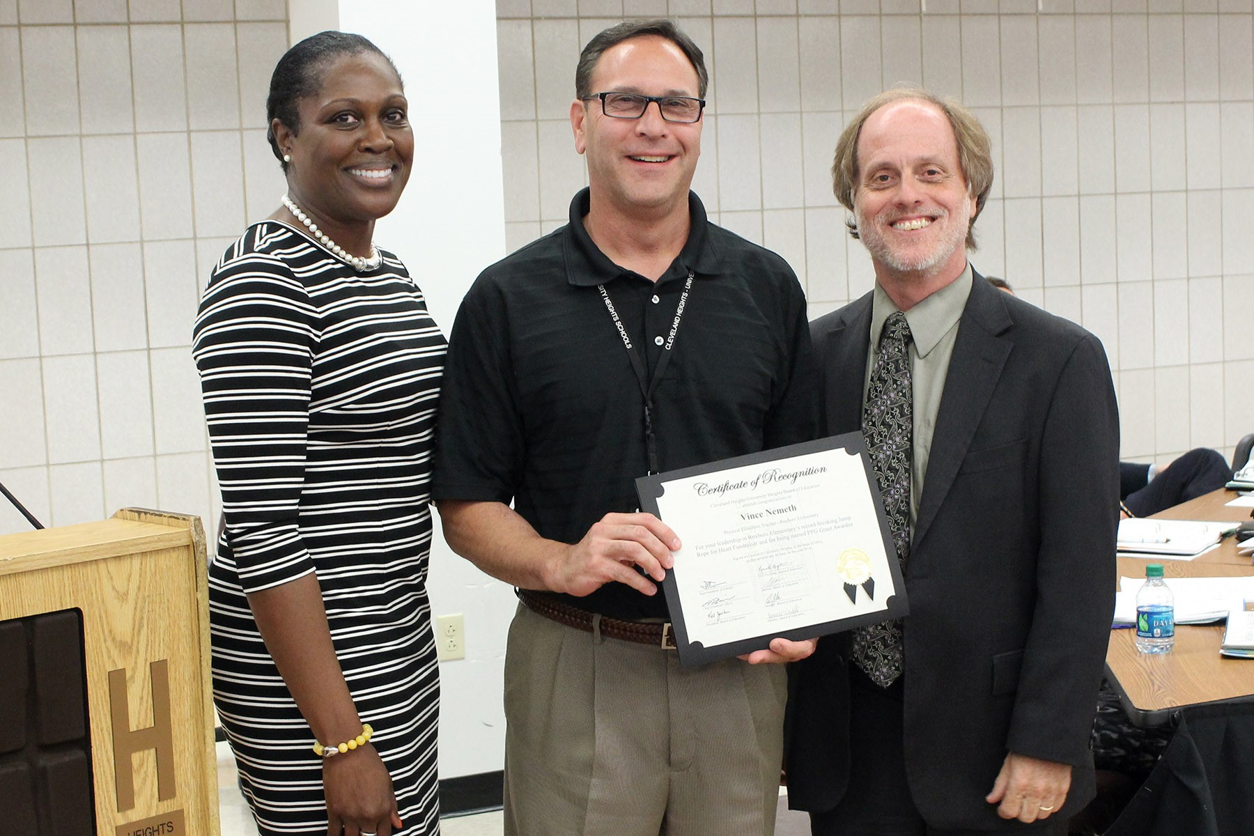 Physical education teacher Vince Nemeth was recognized for his efforts in helping Roxboro Elementary set a regional fundraising record for the American Heart Association.