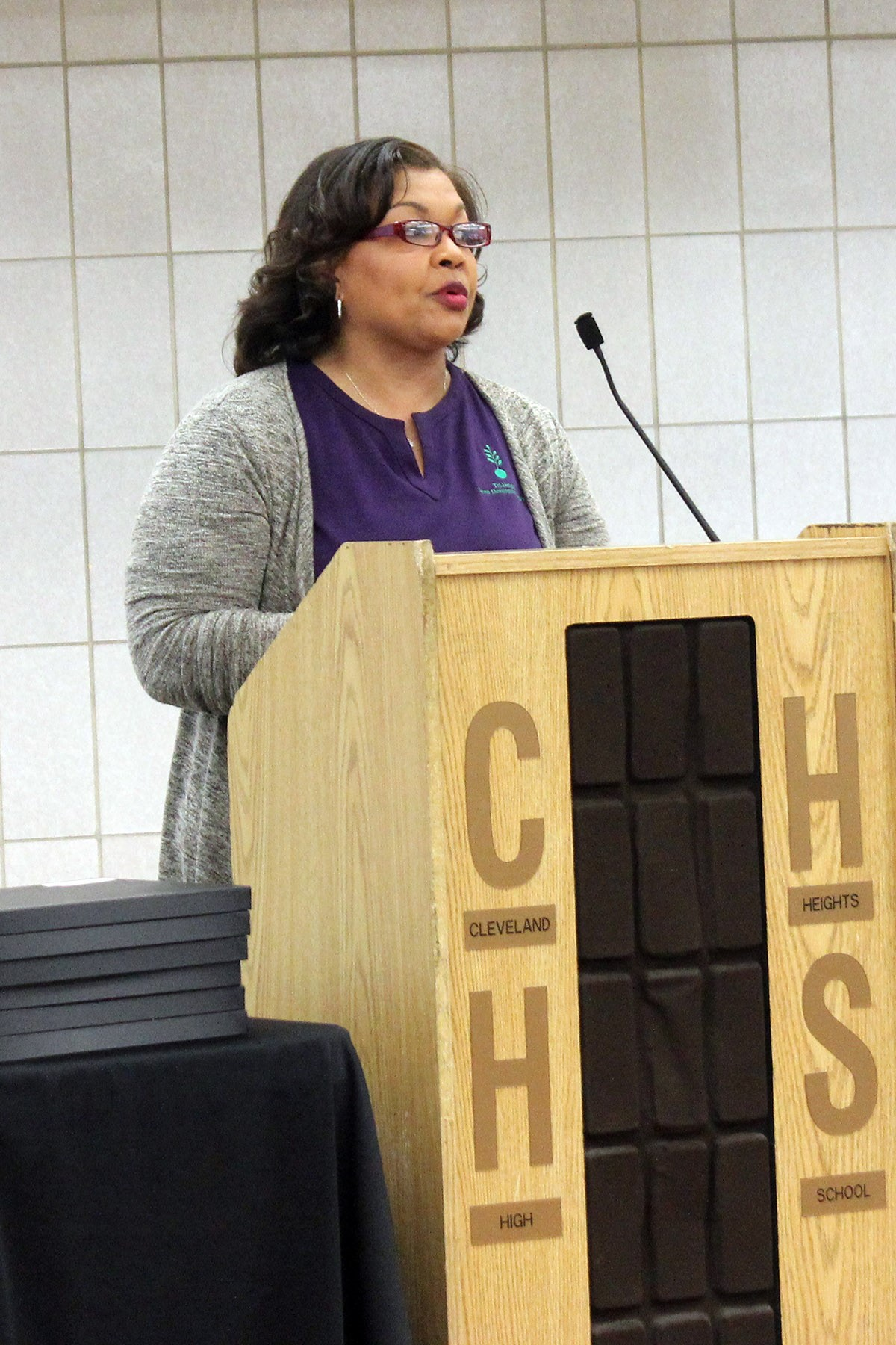 Career Development Coordinator Michelle Phelps spoke about the Tri Heights Consortium's Career Connections program.