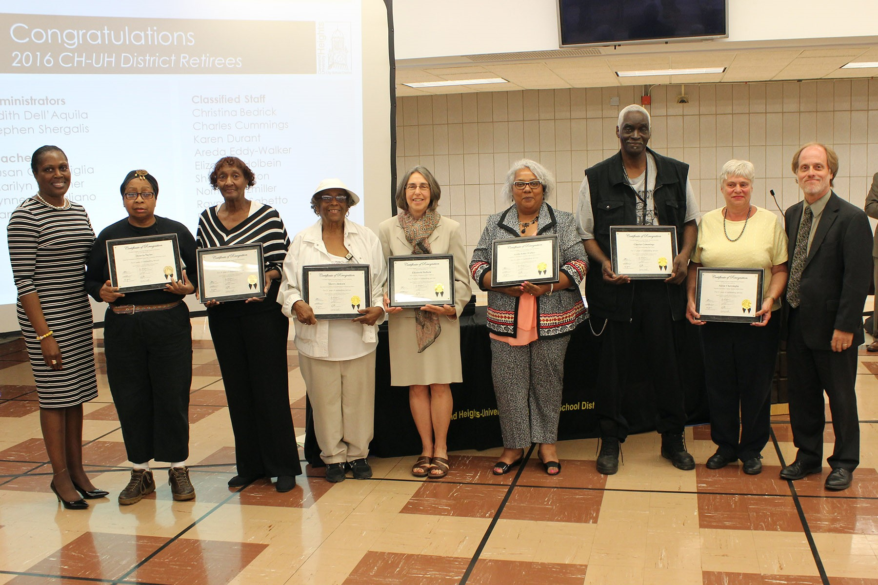 Retiring staff members from the CHUH District were honored.