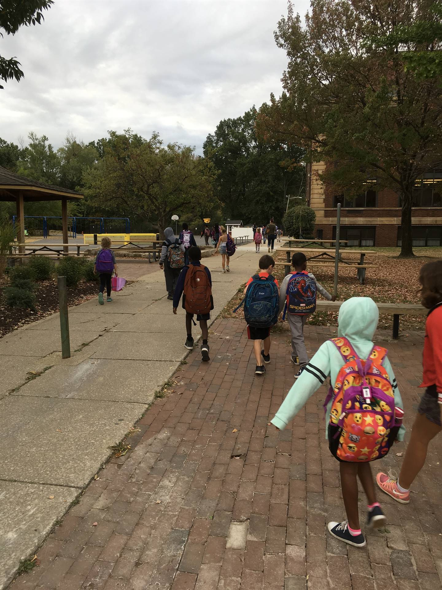 Kids with parents walk or bike to school.